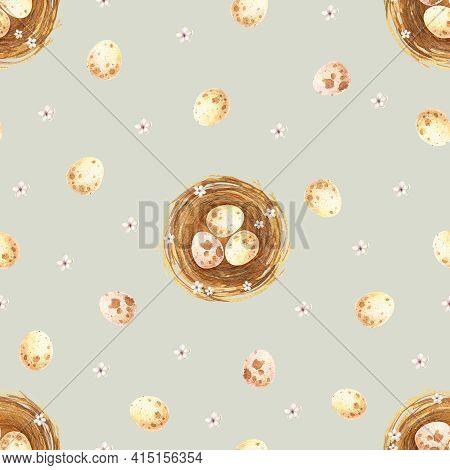 Watercolor Easter Seamless Pattern. Beige Dot Eggs In Nest, Spring Flower Background