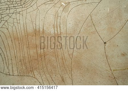 Old, Cracked Enamel Surface. Dirty Torn Enamel Coating Of Bathtubs, Sinks And Pans.