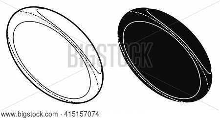 Sports Ball For Playing Rugby Icon. Team Sports. Active Lifestyle. Isolated Black And White Vector