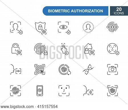 Set Of Biometric Thin Line Icons. Fingerprint, Face Id, Voice Recognition, Dna, Eye Scan. Line Icons