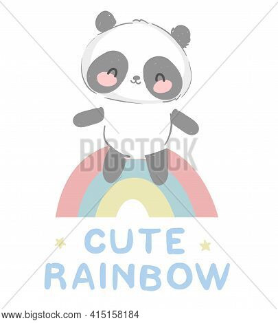 Cute Panda Bear Vector Hand Drawn Panda With Rainbow Design Print For T-shirt