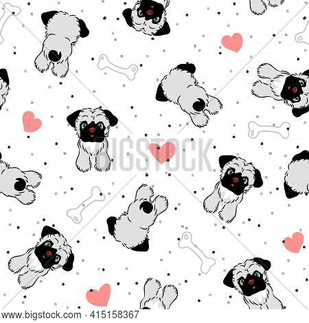Vector Seamless Pattern With Puppies, Hearts And Bones For Dogs, Repeating Pugs On Polka Dot Backgro