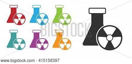 Black Laboratory Chemical Beaker With Toxic Liquid Icon Isolated On White Background. Biohazard Symb