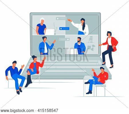 Business Video Group Conference Or Team Meeting Online. Business Business Team Using Laptop For A On