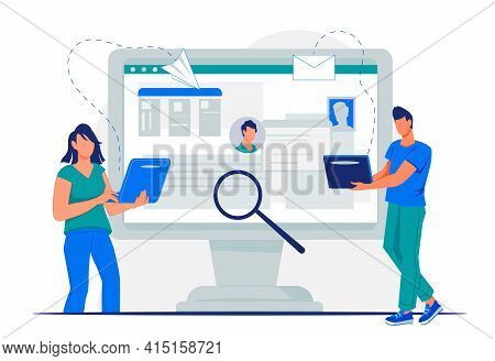 Online Cv Application For Job Search Concept With People Applying Resume For Vacant Job Position. Re