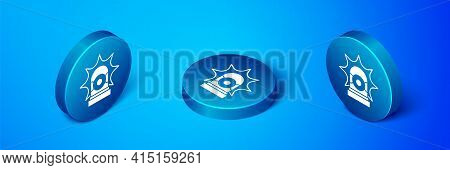 Isometric Flasher Siren Icon Isolated On Blue Background. Emergency Flashing Siren. Blue Circle Butt
