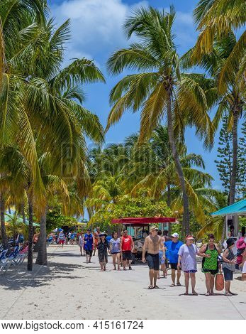 Princess Cays, Bahamas - July 8 - Tourists Enjoy Time Away From The Cruise Ship On July 8 2018 On Th