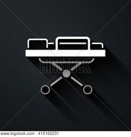 Silver Stretcher Icon Isolated On Black Background. Patient Hospital Medical Stretcher. Long Shadow