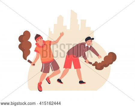 Flat Composition With Two Young Hooligans Burning Smoke Flares Outdoors Vector Illustration