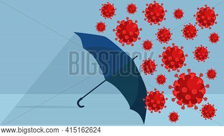Blue Umbrella Against The 2019 Novel Coronavirus Pneumonia, Global  Virus Stock Vector Illustration