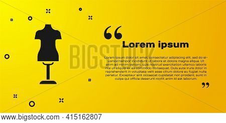 Black Mannequin Icon Isolated On Yellow Background. Tailor Dummy. Vector