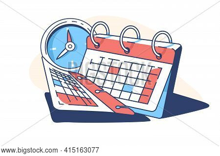 Spiral Calendar And Clock Vector Illustration. Papers