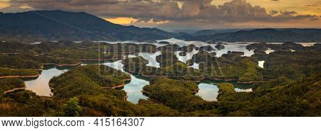 Amazing view of Ta Dung lake. Vietnam. Panorama landscape