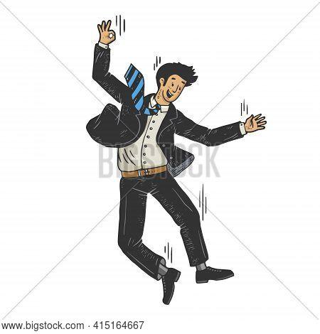 Optimistic Suicide Businessman Falling From Skyscraper Color Sketch Engraving Vector Illustration. T