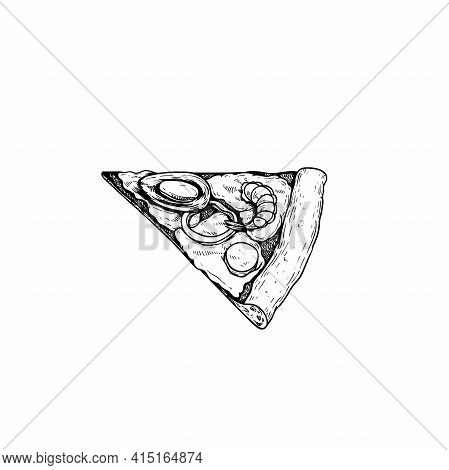 Pizza Frutti Di Mare Piece. Top View. Hand Drawn Sketch Style Seafood Pizza Drawing. Traditional Ita