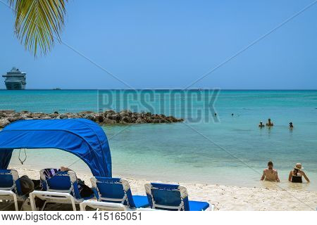 Princess Cays, Bahamas - July 8 - Tourists Enjoy Beach Time Away From The Cruise Ship On July 8 2018