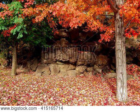Rock Wall Color - An Autumn Scene Along Mt. Washington Drive - Bend, Or