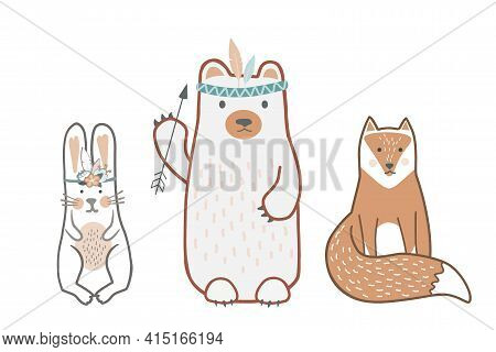 Set Of Cute Baby Animals In Scandinavian Style. Wild Child Friends - Bear, Bunny, And Fox. Cute Hand