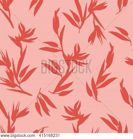 Pink Seamless Pattern With Red Silhouettes Of Heliconia Bihai Tropical Flowers. Vector Pattern For F