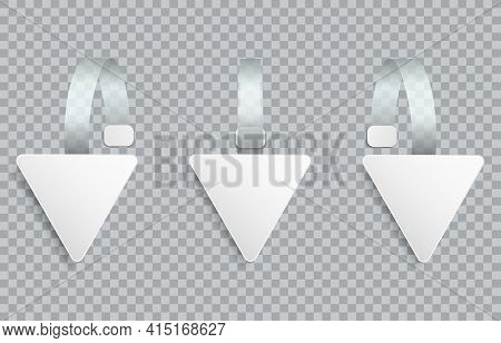 White Realistic Blank Advertising Wobblers Isolated On Transparent Background. Triangle Wobbler Pape
