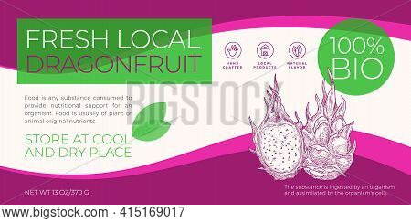Fresh Local Fruits Label Template. Abstract Vector Packaging Horizontal Design Layout. Modern Typogr