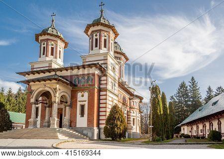 Sinaia, Prahova, Romania, October 2015: Sinaia Orthodox Monastery On Prahova Valley, Carpathian Moun