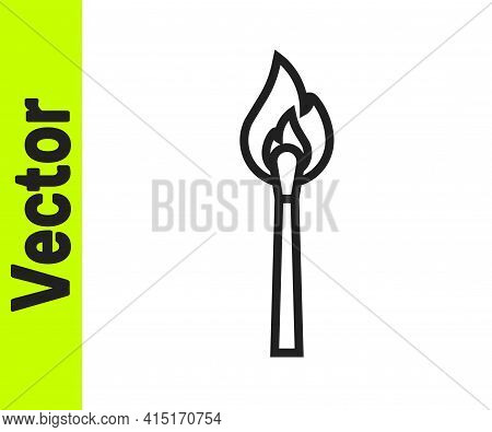 Black Line Burning Match With Fire Icon Isolated On White Background. Match With Fire. Matches Sign.