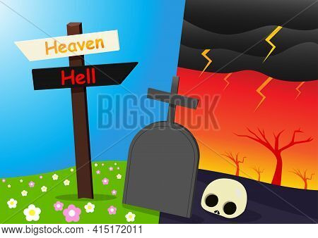 Heaven And Hell Background With Tombstone, Vector Art