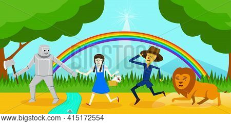 Cosplay As Dorothy And Friend Go To Wizard Of Oz, Vector Art