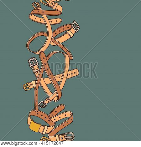 Vertical Seamless Pattern Of Simple Leather Belts With Metal Buckles, Pet Collars, Frame, Border, Co