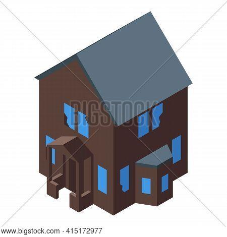 Dark Creepy House Icon. Isometric Of Dark Creepy House Vector Icon For Web Design Isolated On White