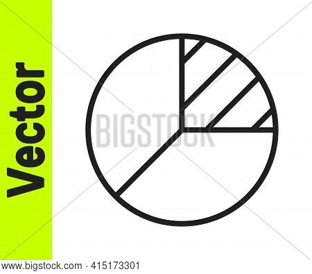 Black Line Pie Chart Infographic Icon Isolated On White Background. Diagram Chart Sign. Vector