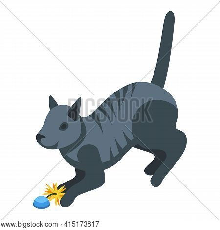 Playful Cat Icon. Isometric Of Playful Cat Vector Icon For Web Design Isolated On White Background