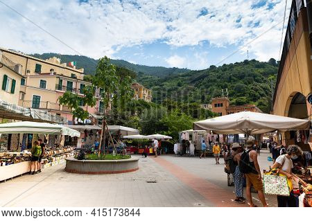 Monterosso, Liguria, Italy. June 2020. The Market Takes Place In The Square Of The Historic Center O