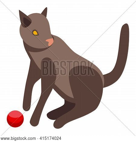 Brown Playful Cat Icon. Isometric Of Brown Playful Cat Vector Icon For Web Design Isolated On White