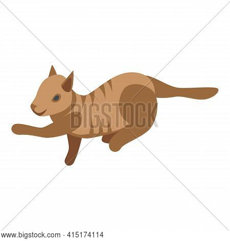 Care Playful Cat Icon. Isometric Of Care Playful Cat Vector Icon For Web Design Isolated On White Ba