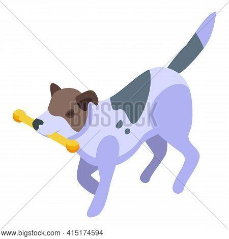 Playful Dog Stick Icon. Isometric Of Playful Dog Stick Vector Icon For Web Design Isolated On White