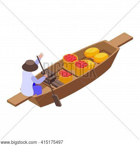 Asian Floating Market Icon. Isometric Of Asian Floating Market Vector Icon For Web Design Isolated O