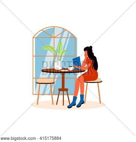 Cozy Cafe Interior Composition With Female Character Sitting At Cafe Table Vector Illustration