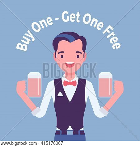 Buy One Get Free, Beer Bar, Tavern Pub Sale Promotion. Young Handsome Positive Boy Seller Offering T