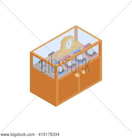 Pawn Shop Isometric Composition With Isolated Image Of Shop Display With Valuable Things Vector Illu