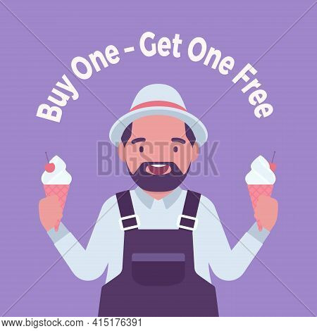 Buy One, Get One Free, Ice Cream Shop Sale Promotion. Fat Handsome Positive Man Seller Offering Two