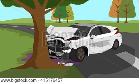 White Car Accident Fell Off The Road And Hit A Large Tree. Environment Is Open Field And Trees Grow