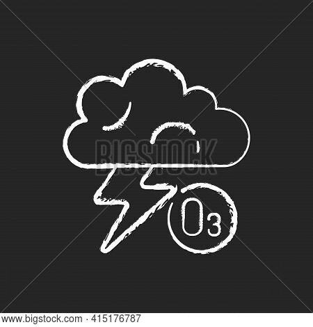 Lightning Chalk White Icon On Black Background. Lightning Significantly Increases Regional Ozone And