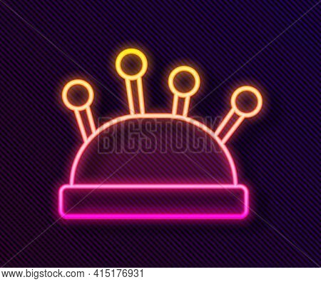 Glowing Neon Line Needle Bed And Needles Icon Isolated On Black Background. Handmade And Sewing Them