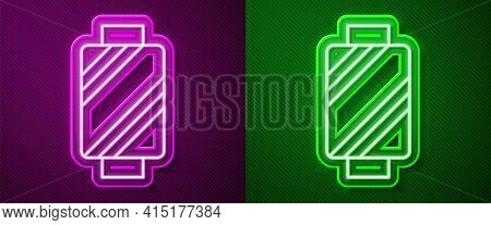 Glowing Neon Line Sewing Thread On Spool Icon Isolated On Purple And Green Background. Yarn Spool. T