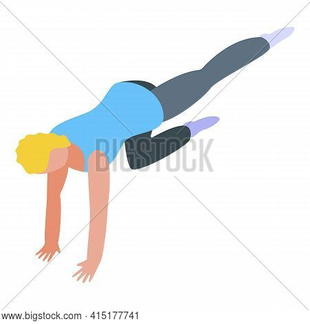 Pilates Push Up Exercise Icon. Isometric Of Pilates Push Up Exercise Vector Icon For Web Design Isol