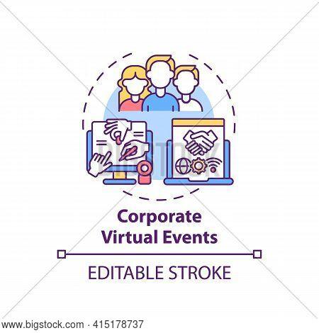 Corporate Virtual Events Concept Icon. Ve Type Idea Thin Line Illustration. Team-building Activities