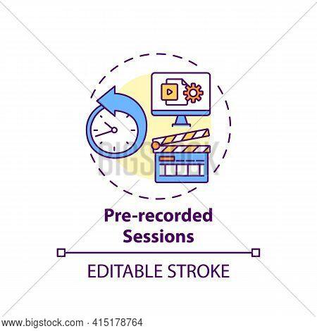 Pre-recorded Sessions Concept Icon. Virtual Event Content Idea Thin Line Illustration. Simulated Liv