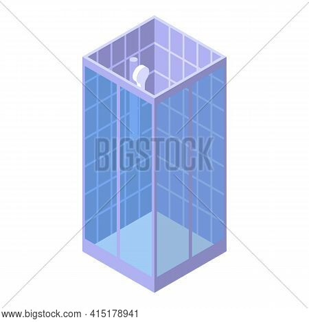 Ceramic Shower Stall Icon. Isometric Of Ceramic Shower Stall Vector Icon For Web Design Isolated On